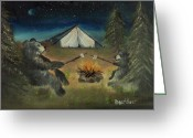 Bears Painting Greeting Cards - Camping Bears Greeting Card by Bill Davidow