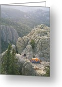 Hikers And Hiking Photo Greeting Cards - Camping on Harney Peak Greeting Card by Bobby Model