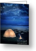 Constellations Greeting Cards - Camping Tent by the Lake at Night Greeting Card by Jill Battaglia