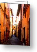 Kathy Yates Photography. Greeting Cards - Campo de Fiori Alley Greeting Card by Kathy Yates
