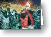 Vibe Painting Greeting Cards - Can you hear us Lord Greeting Card by Gregg Hinlicky
