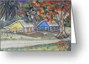Country Dirt Roads Painting Greeting Cards - Cana House Greeting Card by Sanquintin