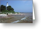 Door County Landmark Greeting Cards - Cana Island Lighthouse 9 A Greeting Card by John Brueske
