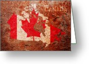 America Mixed Media Greeting Cards - Canada Flag Map Greeting Card by Michael Tompsett