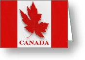 Pencil Drawing Digital Art Greeting Cards - Canada Flag Unofficial Greeting Card by Garry Staranchuk