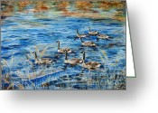 Pond Painting Greeting Cards - Canada geese Greeting Card by Zaira Dzhaubaeva