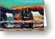 Log Cabins Painting Greeting Cards - Canadian Art Laurentian Landscape Quebec Winter Scene Greeting Card by Carole Spandau