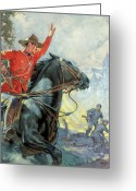 Criminals Greeting Cards - Canadian Mounties Greeting Card by James Edwin McConnell