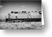 Freight Greeting Cards - canadian pacific freight train locomotive Saskatoon Saskatchewan Canada Greeting Card by Joe Fox
