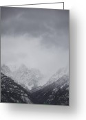 Gray Sky Greeting Cards - Canadian Rocky Mountains, Canmore, Alberta, Canada Greeting Card by Ron Fehling