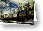 Artography Greeting Cards - Canadian Rocky Mtns Railway Line and Mountain Face Greeting Card by Jayne Logan