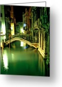 Bridge Greeting Cards - Canal And Bridge In Venice At Night Greeting Card by Michael Henderson