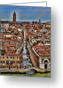 Interface Images Greeting Cards - Canal and bridges in Venice Italy Greeting Card by David Smith