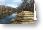 Great Falls Greeting Cards - Canal and Towpath - Great Falls Park - Maryland Greeting Card by Brendan Reals