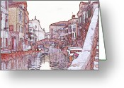 Canal Drawings Greeting Cards - Canal in Venice with Church of San Raphael and Snow Greeting Card by Michael Henderson