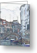 Canal Drawings Greeting Cards - Canal in Venice with Snow Greeting Card by Michael Henderson