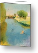 Lesser (1861-1931) Pastels Greeting Cards - Canal Greeting Card by Lesser Ury