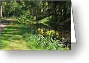 Jogging Greeting Cards - Canal near Dillys Corner Greeting Card by Addie Hocynec
