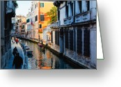 People Walking Greeting Cards - Canal Scenic Greeting Card by George Oze