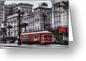 Old Street Photo Greeting Cards - Canal Street Trolley Greeting Card by Tammy Wetzel