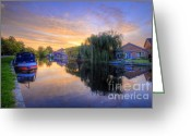 Sunset Framed Prints Greeting Cards - Canal Sunrise Greeting Card by Yhun Suarez