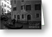 Monochrome Mixed Media Greeting Cards - Canals of Venice II Greeting Card by Louise Fahy