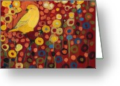 Yellow Greeting Cards - Canary in Red Greeting Card by Jennifer Lommers