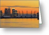 Canary Greeting Cards - Canary Wharf At Sunset Greeting Card by Photography Aubrey Stoll