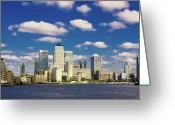 Canary Greeting Cards - Canary Wharf Daytime Greeting Card by Darkerphoto