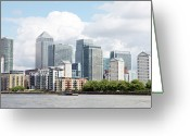 Canary Greeting Cards - Canary Wharf Greeting Card by Richard Newstead