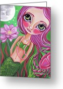 Surrealist Greeting Cards - Cancer - Zodiac Mermaid Greeting Card by Jaz Higgins