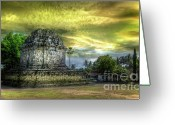 Borobudur Greeting Cards - Candi Near Borobudur Greeting Card by Charuhas Images