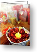Merry Photo Greeting Cards - Candle and balls Greeting Card by Carlos Caetano