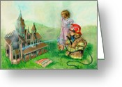 Doll Painting Greeting Cards - Candle Light Dinner Greeting Card by Jeff Brimley