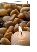 Pebbles Greeting Cards - Candle on the Rocks Greeting Card by Olivier Le Queinec