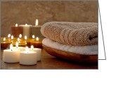 Aromatherapy Greeting Cards - Candles and Towels in a Spa Greeting Card by Olivier Le Queinec