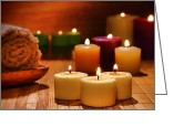 Candles Greeting Cards - Candles Burning in a Spa  Greeting Card by Olivier Le Queinec