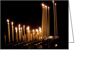 Praying Greeting Cards - Candles in Church Greeting Card by Olivier Le Queinec