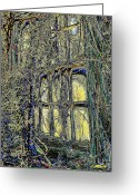 Abandoned Houses Digital Art Greeting Cards - Candles in the Window Greeting Card by Leslie Revels Andrews