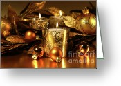 Shimmer Greeting Cards - Candles light in sparkling gold  Greeting Card by Sandra Cunningham