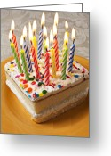 Lit Greeting Cards - Candles on birthday cake Greeting Card by Garry Gay