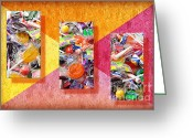 Colorful Photography Mixed Media Greeting Cards - Candy Is Dandy Triptych Greeting Card by Andee Photography