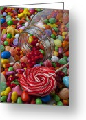 Plenty Greeting Cards - Candy jar spilling candy Greeting Card by Garry Gay