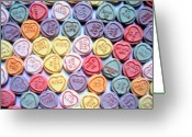 Valentine Greeting Cards - Candy Love Greeting Card by Michael Tompsett