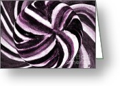 Purples Greeting Cards - Candy Swirl Lollipop Greeting Card by Marsha Heiken