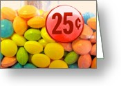 Kitchen Greeting Cards - Candy Twenty Five Cents Greeting Card by Bob Orsillo
