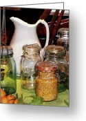Mason Jars Photo Greeting Cards - Canning Jar With Corn Greeting Card by Susan Savad