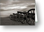 Antietam Greeting Cards - Cannon at Antietam Black and White Greeting Card by Judi Quelland