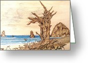 Ocean Framed Prints Pyrography Greeting Cards - Cannon Beach in October Greeting Card by Roger Storey