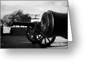 Canons Greeting Cards - Cannons On The Mall Wall And Double Bastion Section Of Derrys City Walls Greeting Card by Joe Fox
